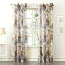 """Andorra Watercolor Floral Sheer Voile Curtain 51"""" x 63"""" 4 Pa"""