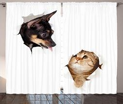 Ambesonne Animal Curtains, Cat and Dog In Paper Side Torn Ho