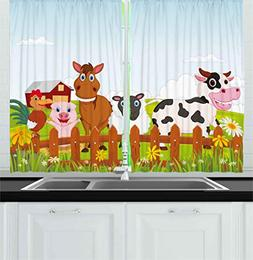 Ambesonne Animal Kitchen Curtains by, Cute Farm Creatures wi