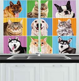 Ambesonne Animal Kitchen Curtains by, Cute Various Dog and C