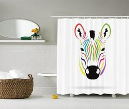 Animal Shower Curtain Decor by Ambesonne, Colorful Exotic Ze