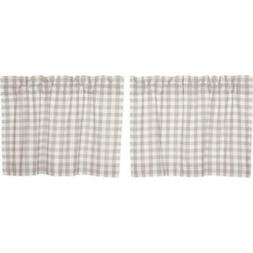 "ANNIE BUFFALO GREY CHECK 24"" Tier Set Cotton Primitive Farmh"