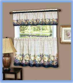 Achim Home Furnishings Antique Floral Tier and Valance Set,