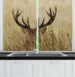 Ambesonne Antler Decor Kitchen Curtains by, Whitetail Deer F