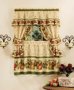 "APPLE ORCHARD COMPLETE KITCHEN CURTAIN SET 24"" long  WINDOW"