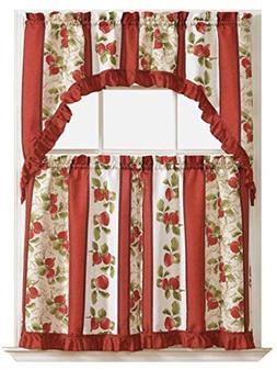 GoodGram Apples On Vine Complete 3 Pc. Kitchen Curtain Tier