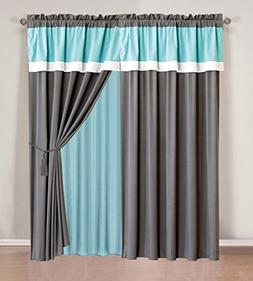 "4 Piece AQUA BLUE / GREY / WHITE Color Block ""Emma"" Curtain"