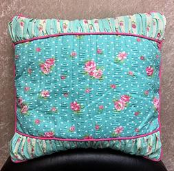 Aqua Floral Polka Dot Print Decorative Pillow - Polycotton F
