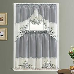 ARCH FLORAL Kitchen Curtain Set  floral embroidery on border