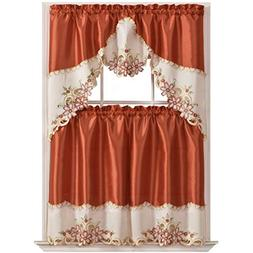GOHD Golden Ocean Home Decor Arch Floral Kitchen Curtain Set