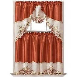 GOHD Arch Floral Kitchen Curtain Set/Swag Valance  Tier Set.