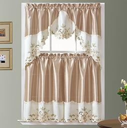 GOHD ARCH FLORAL Kitchen Curtain Set/Swag valance & tier set