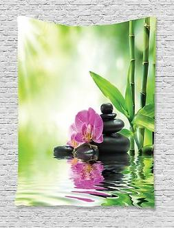Ambesonne Art Tapestry Spa Decor, Orchids and Rocks in The M