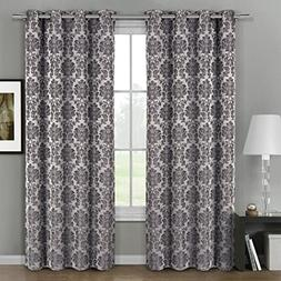 Deluxe Draperies Aryanna Floral Grommet Jacquard 54-Inch-by-