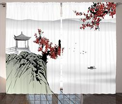Ambesonne Asian Decor Curtains by, River Scenery with Cherry