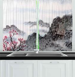 Ambesonne Asian Kitchen Curtains by, Traditional Chinese Pai