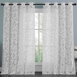 ATHENA White Lace Curtain Panel Set , Beautifully Crafted Fl
