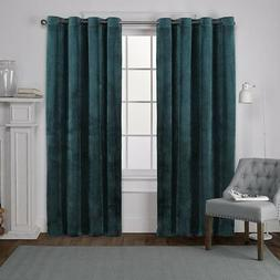 Exclusive Home Velvet Grommet Top Curtain Panel Pair, Teal,