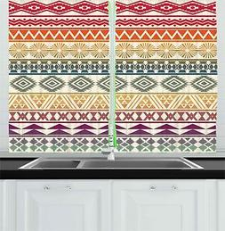 "Aztec Kitchen Curtains 2 Panel Set Window Drapes 55"" X 39"" A"