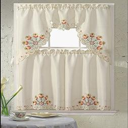B&H Home Jackie Floral Embroidered 3-Piece Kitchen Curtain W
