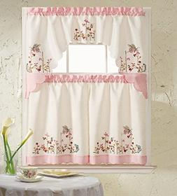 B&H Home Pink Butterfly Embroidered 3-Piece Kitchen Curtain