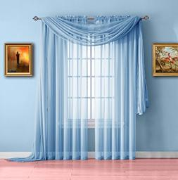 Warm Home Designs Pair of Short Baby Blue Sheer Window Curta