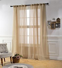 Mysky Home Back Tab and Rod Pocket Window Crushed Voile Shee