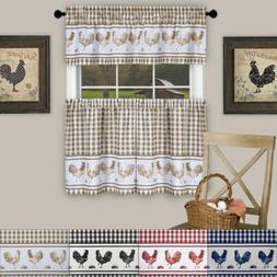 """Barnyard Rooster 24"""" Tier and 14"""" Valance Kitchen Window Cur"""