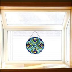 Baroque Style Stained Glass Hanging Window Panel