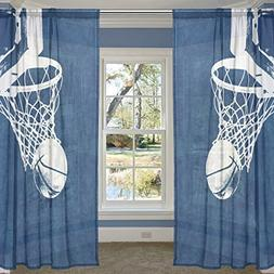ALIREA Basketball Background Sheer Curtain Panels Tulle Poly