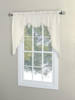 CaliTime Battenburg Lace Kitchen Curtain Valance Swags Tiers