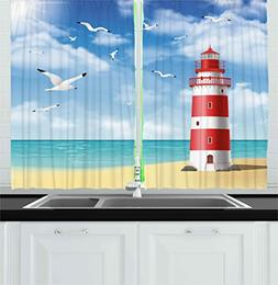 Beach Kitchen Curtains by Ambesonne, Realistic Illustration