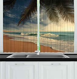Ambesonne Beach Kitchen Curtains by, Tropical Seashore in Sr