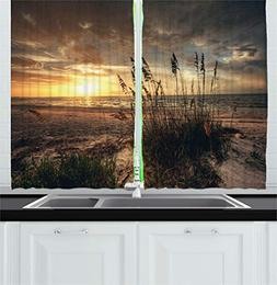 Ambesonne Beach Kitchen Curtains by, Calm Coastal Scene with