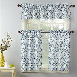 Beckham 3-Piece Kitchen Curtain and Valance Set Window Curta