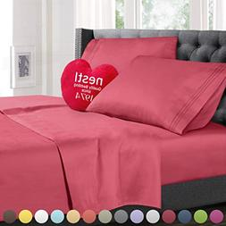 Queen Size Bed Sheets Set Coral Pink, Highest Quality Beddin