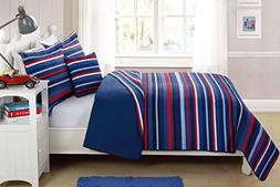 Fancy Linen Bedspread Coverlet 4 PC Full Size Stripe Navy Bl