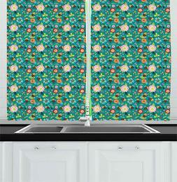 "Bee Kitchen Curtains 2 Panel Set Window Drapes 55"" X 39"" Amb"