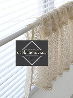 Beige Lace Handmade Natural Cotton Cafe Curtain, Kitchen Cur