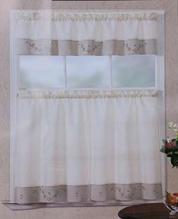 Fancy Linen 3pc Beige Taupe with Embroidered White Floral Ki