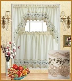 Beige with Embroidery Floral Kitchen/Cafe Curtain Tier and S