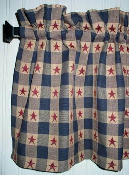 Berry Red Stars Navy Plaid Valance Primitive Country Curtain