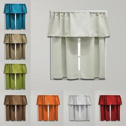 Beth Blackout Tier and Valance Curtain Set, 54 inches wide x