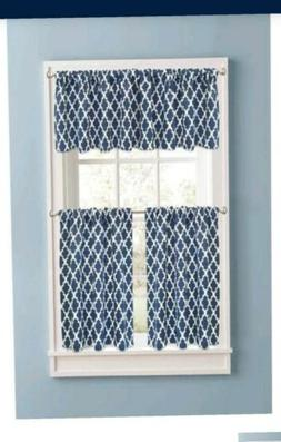 Better Homes and Gardens Indigo Tangier Kitchen Curtains, Se