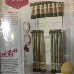 ~Better Homes and Gardens~Olives Kitchen Curtains NEW 3 Vala