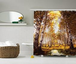 Birch Forest Decor Shower Curtain by Ambesonne, Lush Foliage