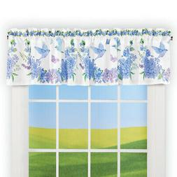 Bird Floral Blue and Purple Wreath Window Valance - Spring D