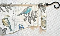 KITCHEN CURTAIN VALANCE~Birds~Teal~BLUE~Yellow~Off white~Gre