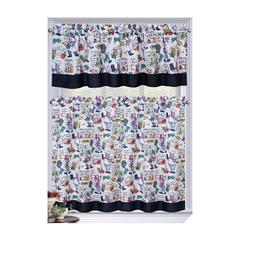 Regal Home Collections Bistro Chef Complete Kitchen Curtain
