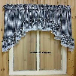 """Black and White Gingham Ruffled Swag Valance Curtain  82"""" Wi"""